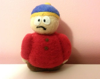needle felted, South park character, cartman south park, cartoon needle felted, needle felted character, Cartman felted,South park cartoon.