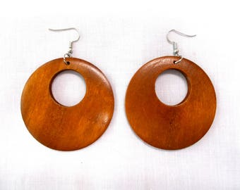 Boho Bold Large Size BLACK Wooden Marquis Peek A Boo Hole Hand Stained Dangling Real Wood Flat Hoop Fashion Earrings