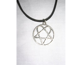 Heartagram etsy new him heartagram ville valo love metal movement rocker pewter pendant on adjustable cord necklace play it loud metal jewelry aloadofball Image collections