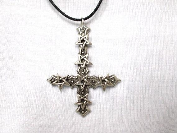 Hommes inversé Pentacle Pentagramme Étoile Noir CZ Étain Pendentif GRATUIT Collier