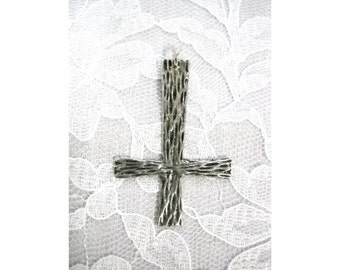Large Satanic Occult INVERTED Wood Grain CROSS Solid Hand Cast Pewter Pendant on Adjustable Cord Necklace Ritual Jewelry Evil Goth Metal