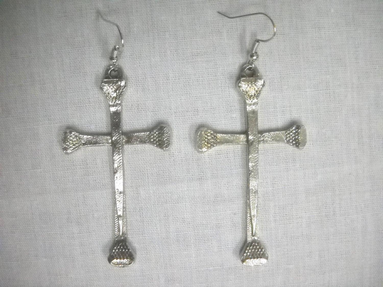 Pferde Land HUFNAGEL Kreuz solide Hand gegossen Silber Zinn