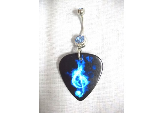 NEW 2 TONE BLUE w BLACK CHEETAH PRINT GUITAR PICK w BLUE CZ BELLY BAR NAVEL RING