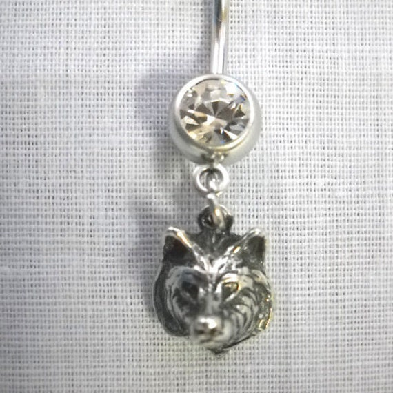 NEW USA CAST PEWTER WOLVES WOLF HEAD w CLEAR GEM BALL PENDANT SIZE EARRINGS
