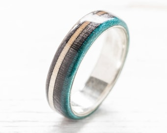 Blue Ring - Wooden ring -  Recycled Skateboard Ring -  Wedding Ring - Surfing Ring - Gift - Zero Waste Gift - Eco-friendly Gift - Cool