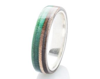 Silver Skateboard Ring - Wooden -  Recycled Skateboard Ring -  Wedding Band - Waterproof wooden ring - Gift - 5 Year Warranty - BoardThing