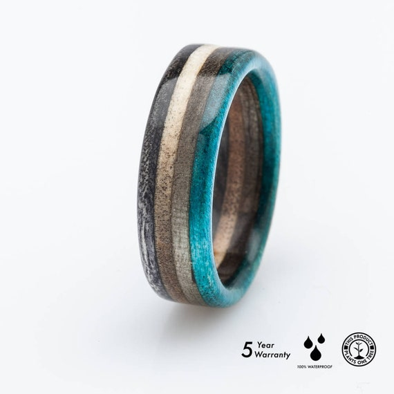 Recycled Skateboard Wooden Ring Wedding Ring Recycled Ring