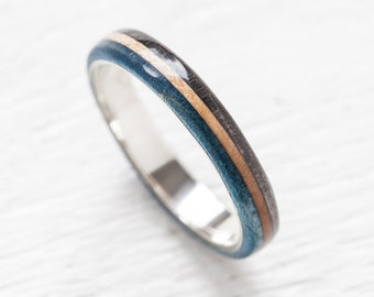Wooden silver Ring - Skateboard Ring - Waterproof - Recycled Skateboards Ring - Wedding band - Upcycled Jewelry - Gift