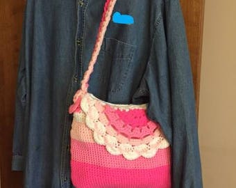 FREE SHIPPING* Crocheted Bright Pink and White Handbag