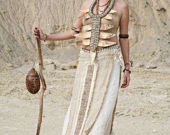 Raw-Silk Tribal Panelskirt by GayatriTribalCrafts
