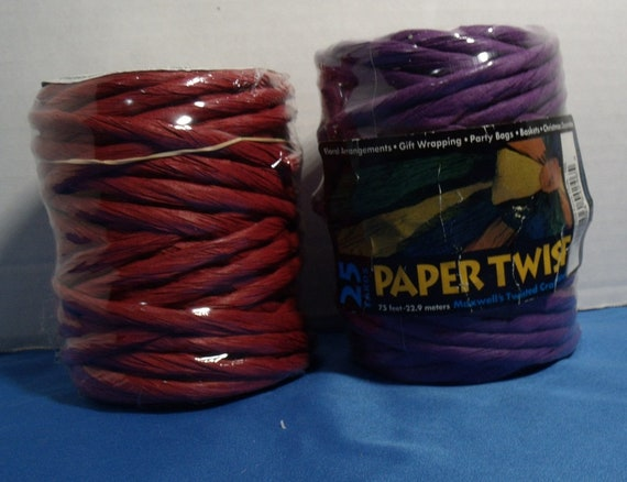 2 New Spools Of Paper Twist Craft Ribbon 1 Red And 1 Purple