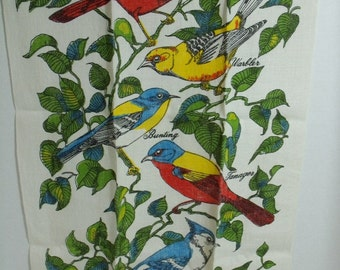 Vintage Kitchen Tea Towel with Colorful Birds on beige