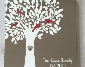 Personalized Family Tree Sign - Rustic Wedding Gift - Customizable Family Wall Art -Bird Family Tree Chart - Anniversary Gift Home Decor