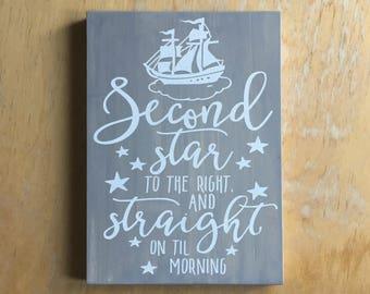 Peter Pan Adventure Sign - Adventure & Tea Quote - Book Lover Home Decor - Literary Gift -  Bookworm Wall Hanging - Peter Pan Nursery Decor