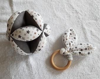 Montessori Gripping Ball / Rattle, Natural teething ring -- Oeko-Tex Fabric
