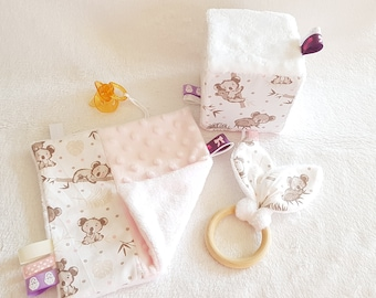 Montessori Koala Baby Box -- Birth Box -- Montessori Games -- Awakening Cube, Natural Wood Teething Ring and Koala Flat Blanket