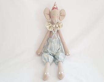 "Articulated ""Circus"" Tilda Elephant doll - Handmade"