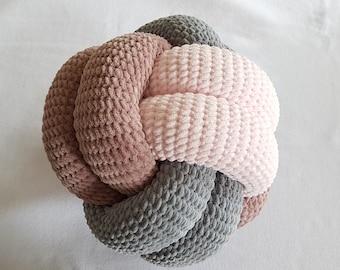 Tricolor Crochet Knot Cushion / Crochet Knot Pillow / Decoration