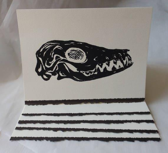 Monoprint Fox Skull Greeting Cards Wedding Birthday
