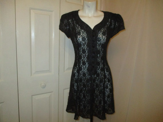 All That Jazz sheer lace short sleeve dress