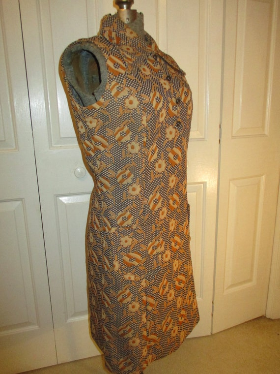 1970's sleeveless textured floral print double kn… - image 3