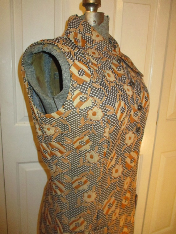 1970's sleeveless textured floral print double kn… - image 4