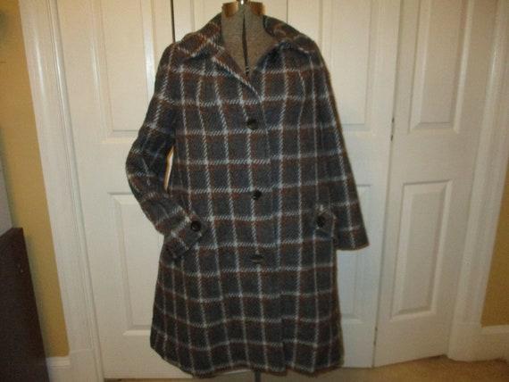 Aquascutum gray check wool coat