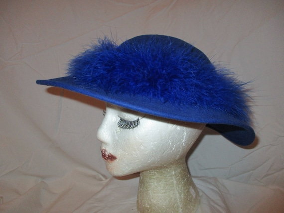 d67a332b0cb Vintage Bollman wool felt hat with feather band