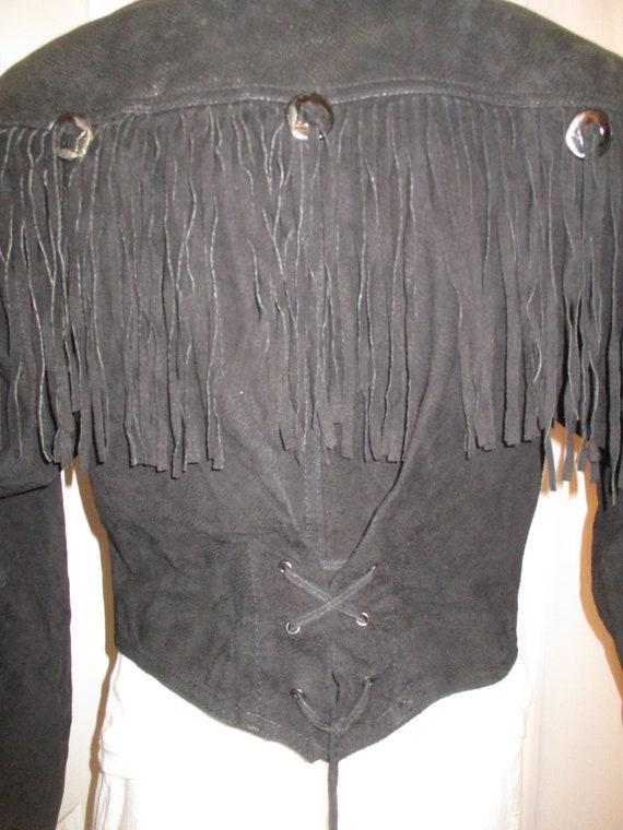 G III fringed cropped leather jacket - image 7