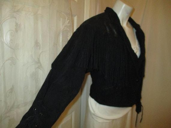 G III fringed cropped leather jacket - image 4