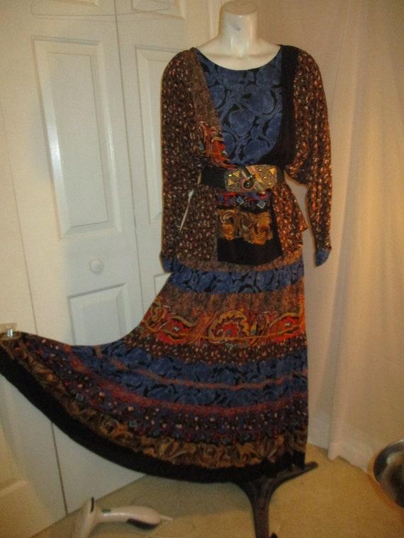 Carole Little boho tiered skirt and tunic - image 3