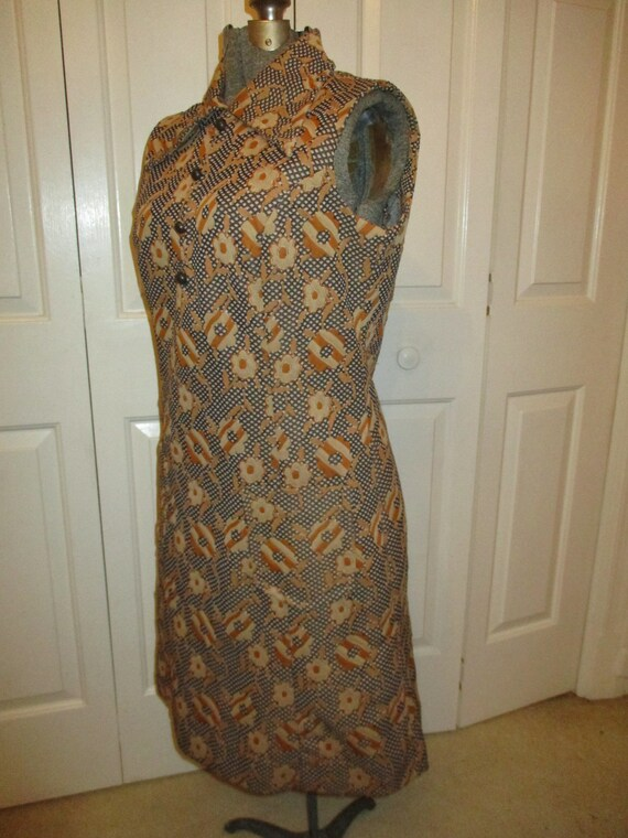 1970's sleeveless textured floral print double kn… - image 7