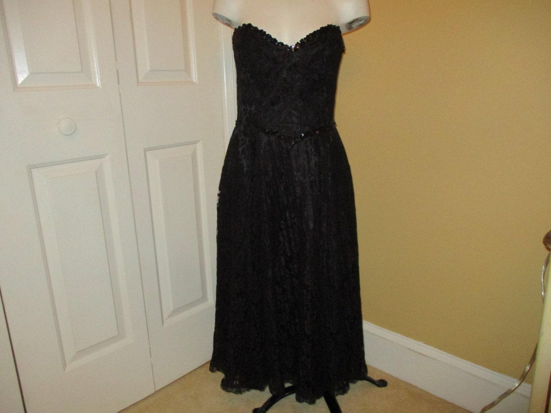 80s Dresses | Casual to Party Dresses Vintage Gunne Sax By Jessica Mcclintock Strapless Lace Dress 6 $7.95 AT vintagedancer.com