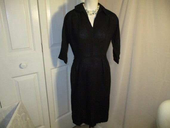 3/4 sleeve 1940's linen dress