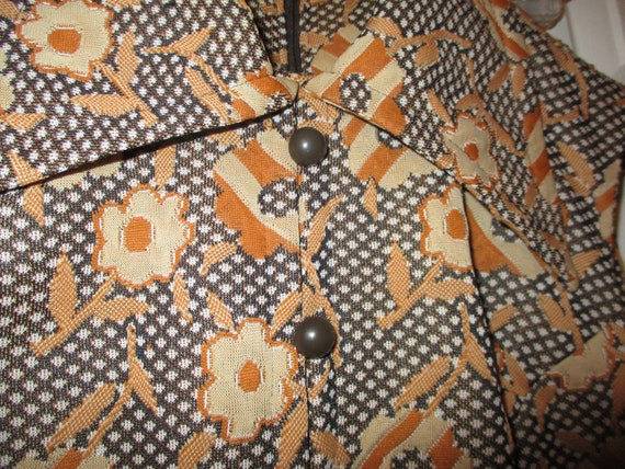 1970's sleeveless textured floral print double kn… - image 10