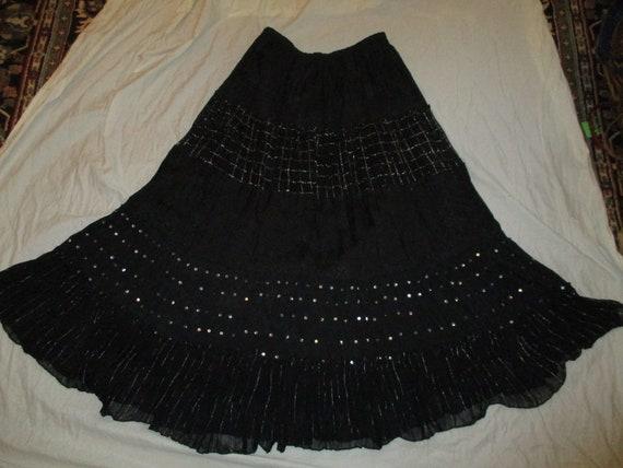 Phool tiered boho broomstick maxi skirt