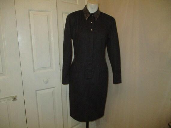 Claude Montana studded wool dress