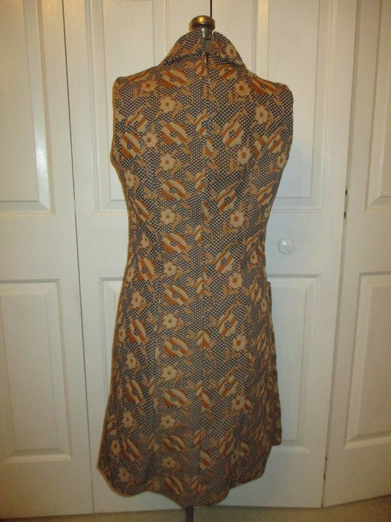 1970's sleeveless textured floral print double kn… - image 6