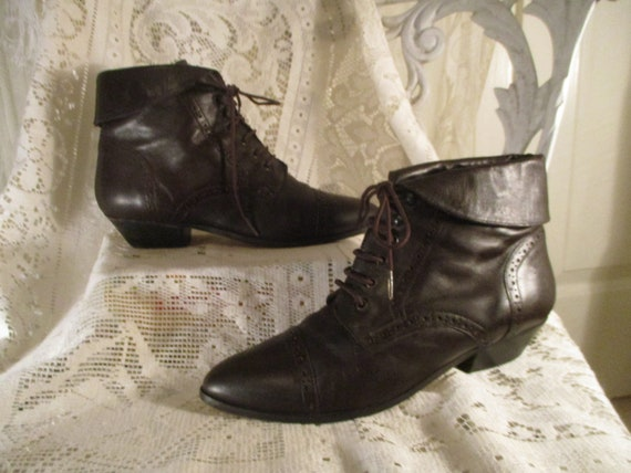 Mainframe leather ankle lace up granny boots