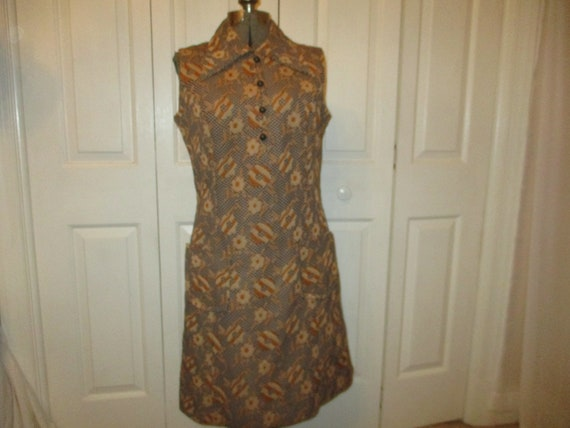 1970's sleeveless textured floral print double kn… - image 1