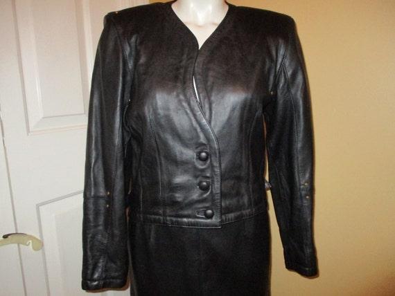 Vintage studded black leather skirt suit