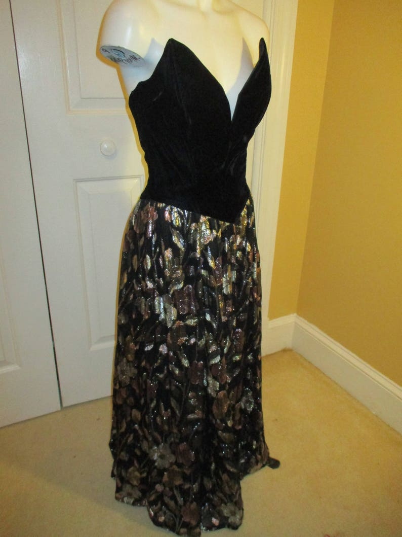 vintage Jessica McClintock strapless evening dress
