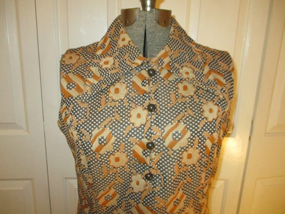 1970's sleeveless textured floral print double kn… - image 2