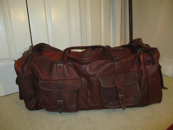 XXL  distressed leather duffel bag