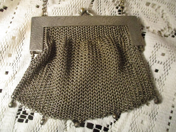 antique German silver small mesh bag