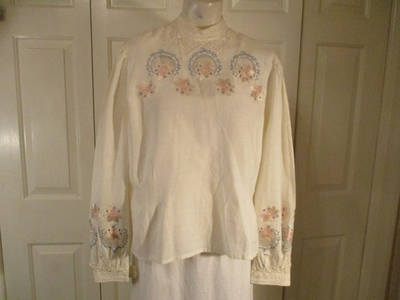 Alexandria lace trim Victorian style blouse