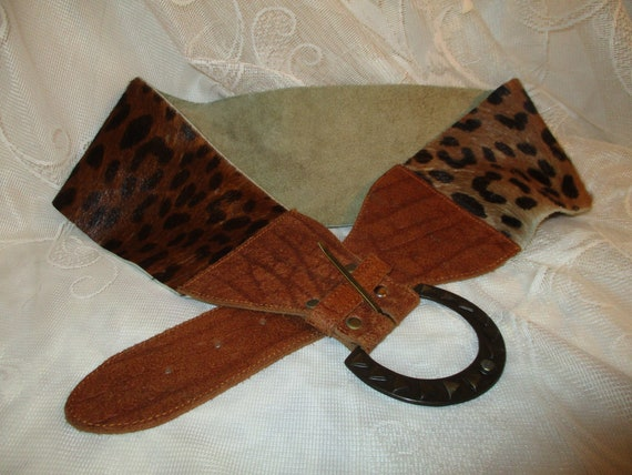 X wide leopard print cow fur leather belt