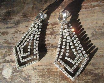 X large rhinestone dangle earrings