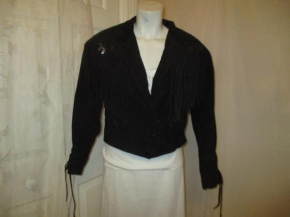 G III fringed cropped leather jacket