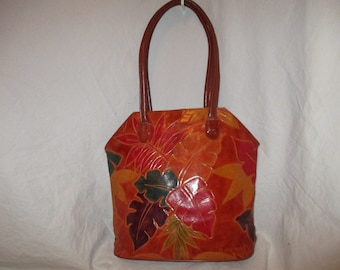 MTC tooled leather tote/shoulder bag